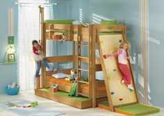 Climbing wall to a top bunk.  You could easily add this to any bunk bed.