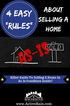 """4 Easy """"Rules"""" About Selling A Home In As-Is Condition - Selling a home in as-is condition can be tricky. It's important if you're thinking about sellin - Real Estate Articles, Real Estate Information, Real Estate Tips, Home Buying Tips, Mortgage Tips, Selling Your House, Famous Last Words, Real Estate Investing, Real Estate Marketing"""
