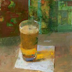 "Jon Redmond Grey Day Beer 10""x10"" oil on board"