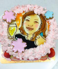女性の似顔絵、桜のケーキ Birthday Cake, Cakes, Portrait, Desserts, Food, Tailgate Desserts, Deserts, Cake Makers, Headshot Photography