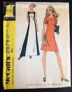 McCall's 2679 vintage sewing pattern 1970s Colorblock maxi Mini Mod Groovy Bust 32.5 panels HIppie