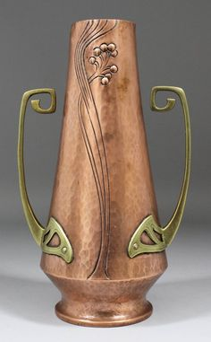 , copper and brass mounted two-handled vase of tapered form, embossed with elongated stems and applied with angular loop handles, high (impressed mark to base) Copper Work, Copper And Brass, Antique Copper, Bronze, Art Nouveau, Vase Shapes, Wmf, Arts And Crafts Movement, Metal Working