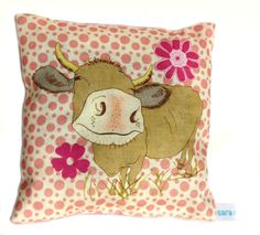 Daisy the cow lavender scented mini cushion by sara norwood Pink Polka Dots Background, Happy Cow, Cute Cows, Lavender Scent, Pin Cushions, Farm Animals, Vintage Sewing, Color Splash, Decorative Items
