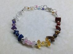 Adjustable CHAKRA Gemstone Bead BRACELET - Size Fit 6 to 7 Inch - Handmade #Handmade