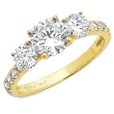 Clara Puccis 14k Yellow Gold Brilliant Round Cut Simulated Diamond CZ Three Stone Accent Ring Band 210 CT Size 7 * See this great product.Note:It is affiliate link to Amazon.