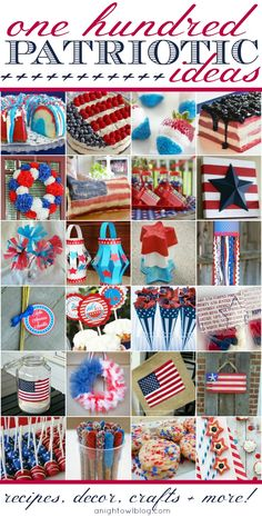 100 Perfectly Patriotic Ideas - Recipes, Decor, Crafts MORE! Looking for Memorial Day or of July inspiration? Check out these 100 Perfectly Patriotic Ideas: Recipes, Decor, Crafts and MORE! Patriotic Crafts, Patriotic Party, July Crafts, Holiday Crafts, Holiday Fun, Holiday Recipes, Americana Crafts, Favorite Holiday, Holiday Parties