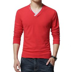 0994f147 US $13.5 |Hot Sale 2018 New Fashion Brand V Neck Long Sleeve T Shirt Men  Slim Fit Tee Casual Mens T Shirt Cotton Top Tee Shirts 4XL 5XL-in T-Shirts  from ...