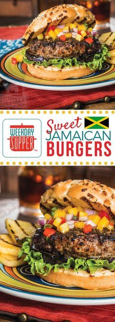These Sweet Jamaican Burgers are not just flavored with jerk spices, but also mango nectar and a little cider vinegar. The perfect blend of sweet and spicy! #WeekdaySupper