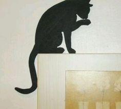 Ahşap Kapı Üstü Kedi Süsü