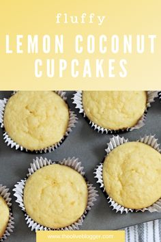 A fluffy lemon cupcake topped with coconut lemon frosting- the perfect flavor combination!  These cupcakes use a pudding mix to make them super moist and not at all crumbly, everyone will be begging for the recipe.  #lemoncupcakes #lemoncoconut #buttercreamfrosting Lemon Frosting, Coconut Frosting, Coconut Cupcakes, Lemon Cupcakes, Baking Cupcakes, Vanilla Cupcakes, Buttercream Frosting, Cupcake Recipes, Cupcake Frosting