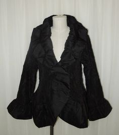 Jerry T Black Crinkle Ruffle Evening Occasion Jacket XL