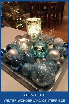 Christmas centerpieces ideas for new season 12 ~ Popular Living Room Design Turquoise Christmas, Silver Christmas Decorations, Christmas Tablescapes, Coastal Christmas, Christmas Centerpieces, Christmas Home, Christmas Holidays, Christmas Crafts, Teal Christmas Tree