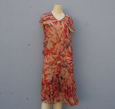 20s FLAPPER DRESS Bright Floral Silk Chiffon xsm by lolanyevintage