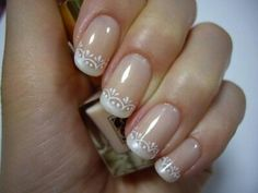 Mother of pearl french with white lace details