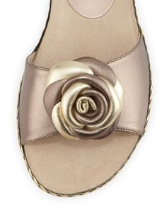 Sesto Meucci Zoey Rose Flat Leather Sandal, Pewter