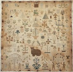 Early 19th Century Silk Work Tree of Life Sampler by Mary Ann Johncock 1841 | eBay