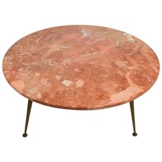 Round Italian Marble-Top Coffee Cocktail Table