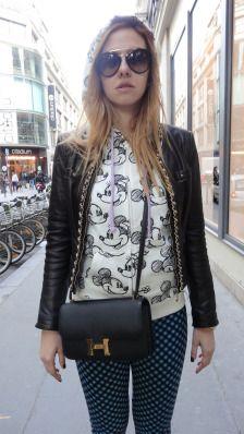 "The ""I Don't Give a Damn Look""  #paris #parisfashionweek #pfw #fashion #fashionweek #ootd #wiwt #lovebyn #fashionweekready #pretaporter #runway #fashionshow #fashionblog #fashionblogger #lovebyn #design #designer #travel #travelblogger #france #love #runway #fw #aw #mickeymouse #balenciaga #hermes #bag #leather #jacket #disney"
