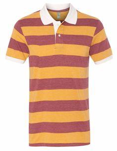 Alternative Mens Stripe Custom polo t shirts collar Mens Drytec20 available fabric bamboo modal organic cotton