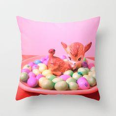 Deer picnic Throw Pillow by Vintage  Cuteness - $20.00 #vintage #deer #doe #fawn #bambi #pastel #pillow #decor #children #girly #easter #egg #cute #kawaii #kitsch