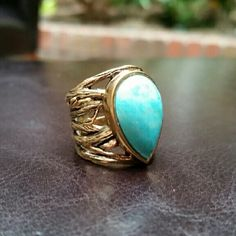 """Turquoise & Branch Ring This was a gift that is just a bit too snug on my finger. Otherwise I would totally be keeping this!  This would fit size 4 1/2 ring finger best. A small amount of  tarnishing, but I have left this. Personally, I think it looks interesting and adds to the organic look of the ring. I can shine it up prior to shipping if you want.   Stamped """"Thailand, copyright Barse"""" Jewelry Rings"""