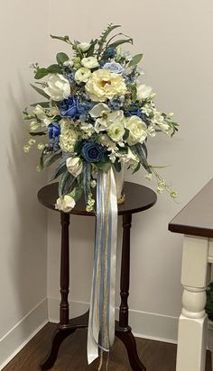 Blue and cream bridal bouquet Entryway Tables, Bouquet, Bridal, Cream, Flowers, Gifts, Blue, Furniture, Home Decor