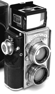 Contaflex Twin lens medium format camera. I like the little numbers on the dials.