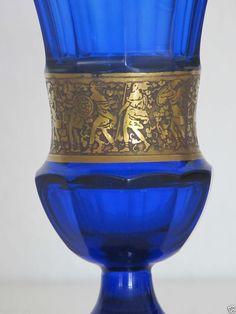Moser Glas vase, Karlsbad Blau, Ätzgold Ring signiert