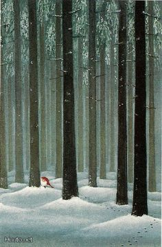 """dahliafyodorovna: """" Artwork by Lennart Helje II Painter, illustrator, born in in Lima.He paints Christmas cards with elves in snowy landscapes."""