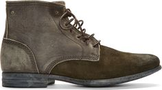 Diesel   Olive Leather & Suede Chrom Desert Boots   SSENSE