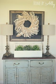 DIY Chalkboard over buffet in dining room at Home by Ally
