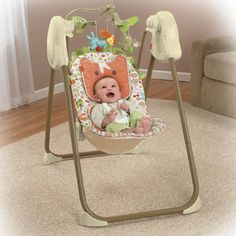 Fisher-Price - Fold Flat Swing, Woodsy Friends