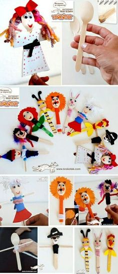 These wooden spoon dolls could be adapted for plastic spoons and craft sticks using cupcake papers for skirts, bits of felt, yarn, chenille stems, etc. Craft Stick Crafts, Fun Crafts, Diy And Crafts, Arts And Crafts, Paper Crafts, Craft Sticks, Craft Activities For Kids, Projects For Kids, Diy For Kids