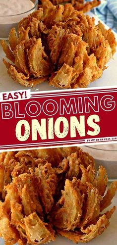 Looking for party food? Learn how to make a blooming onion! Deep-fried to perfection in a slightly spicy breading, this appetizer idea is crispy and delicious. Don't forget to serve this finger food with dipping sauce! Air fryer instructions are included in this recipe! Vegetable Side Dishes, Vegetable Recipes, Beef Recipes, Cooking Recipes, Copycat Recipes, Yummy Recipes, Blooming Onion Sauce, Blooming Onion Recipes, Sweet Onion Recipe