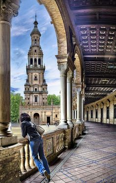 - Plaza de España, Sevilla, Spain ~~ For more: - ✯… Places Around The World, Oh The Places You'll Go, Places To Travel, Places To Visit, Around The Worlds, Cadiz, Wonderful Places, Beautiful Places, Voyage Europe