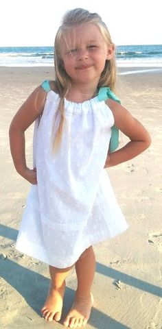 This simple, white pillowcase dress is perfect for a special occasion, but comfy enough to wear anytime. Very soft and lightweight. Little Girl Dresses, Little Girls, Flower Girl Dresses, Pillowcase Dress Pattern, Pillowcase Dresses, Baby Girl Dress Patterns, Simple Girl, Easter Dress, Occasion Dresses