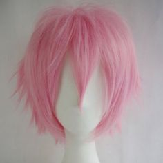 S-noilite New Short Cosplay Full Wig Pink Curly Hair Tail Costume Wigs... ($12) ❤ liked on Polyvore featuring costumes