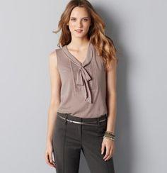 soft looking top with tie : to wear under blazer