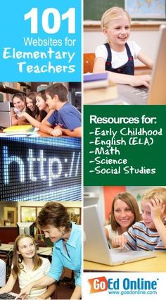 101 Websites That Every Elementary Teacher Should Know About - This list includes sites for early childhood, English (ELA), math, science, social studies, and even some web 2.0 tools!