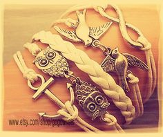 Anchor Birds Infinity Owls Bracelet White wax cord by gogowrists, $6.99