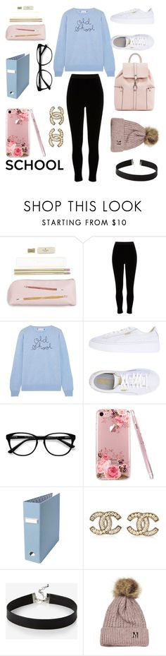 """""""Cute pastel outfit for studying"""" by juliannamclary ❤ liked on Polyvore featuring Kate Spade, River Island, Lingua Franca, Puma, EyeBuyDirect.com, Chanel and Express"""