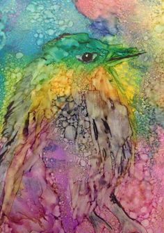 Rainbow Bird Original 3.5x2.5 Alcohol Ink Painting on by dannaj, $9.00