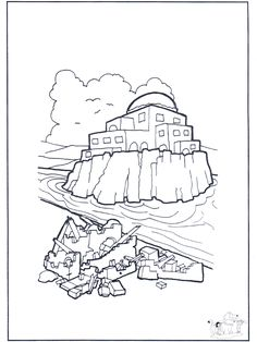 Wise man built his house upon the rock craft crafts for Wise man foolish man coloring page