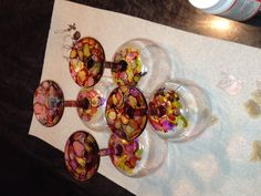 Wine glasses decorated with Alcohol Ink
