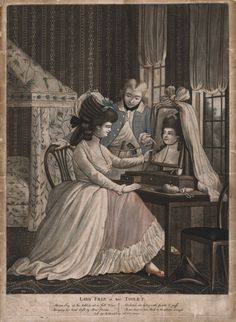"""Lady Friz at her Toilet"" links to Lady Isis's blog on 18th century cosmetic recipes."
