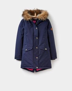 Wynter luxe French Navy Parka Style Coat 3-12yr  | Joules UK