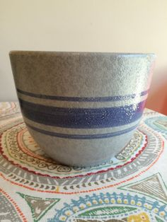 Vintage 1960's Blue With Blue Stripe Haeger Mid-Century Pottery Planter Pot by GinchiestGoods on Etsy
