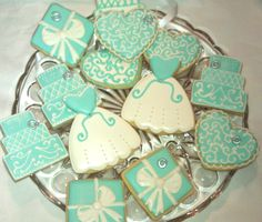 One Dozen Tiffany White and Blue Decorated Sugar Cookies Wedding Shower favor