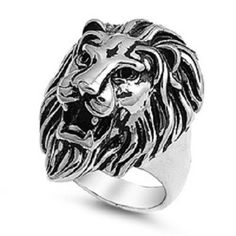 Roaring Lion Stainless Steel Ring with Full Mane,teeth