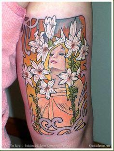 Alphonse Mucha Lily Tattoo by Tim Beck at Freedom Ink Alphonse Mucha, Art Nouveau Tattoo, Famous Tattoo Artists, Art Nouveau Flowers, Art Deco, Beste Tattoo, Love Tattoos, Awesome Tattoos, Girl Tattoos